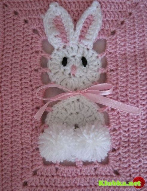 bunny afghan square.: Crochet Blankets, Craft, Idea, Crochet Easter, Pattern, Crochet Squares, Crochet Baby, Baby Blankets, Granny Squares