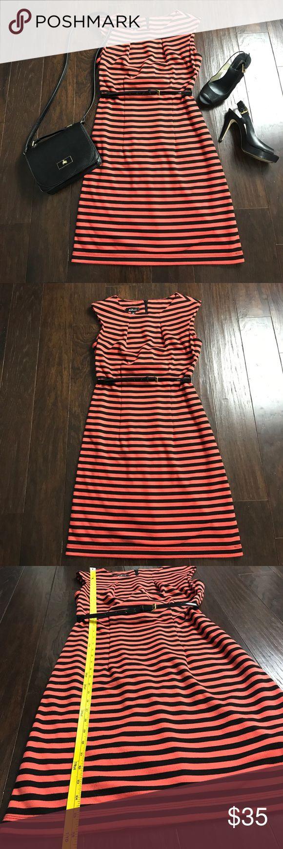 Orange & Black Sheath Dress Sheath dress striped in orange and black. Cotton stretch material. Belt included. Dresses Midi