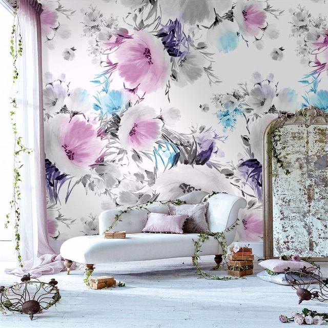 Tuya Art Desktop Pale Pink Floral Wallpapers For Bedroom Living Room Wallpapers Home Decor On Pink Floral Wallpaper Wallpaper Living Room Lavender Living Rooms