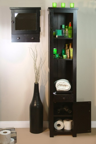 Tall Dark Wood Bathroom Unit This tall and slender bathroom unit is part of  our Contemporary