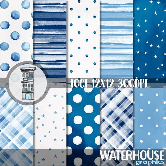 Blue DIGITAL PAPER Pack BLUE Teal heart patterns polka dots stripes Clipart Valentines Scrapbook Paper Turquoise Patterns boy