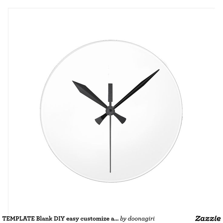 TEMPLATE Blank DIY easy customize add TEXT PHOTO Round Wallclock