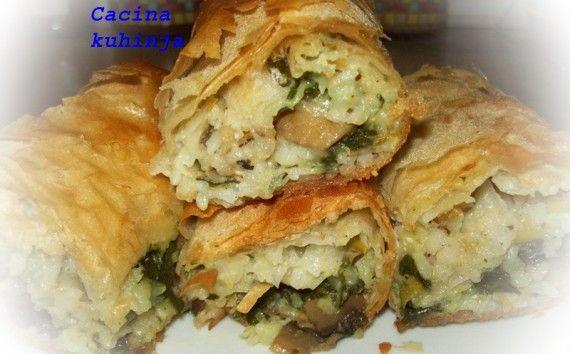 Posna pita sa šampinjonima, spanaćem i pirinčem (3 u 1) - Posna jela i kolači, Slane pite i rolati recepti