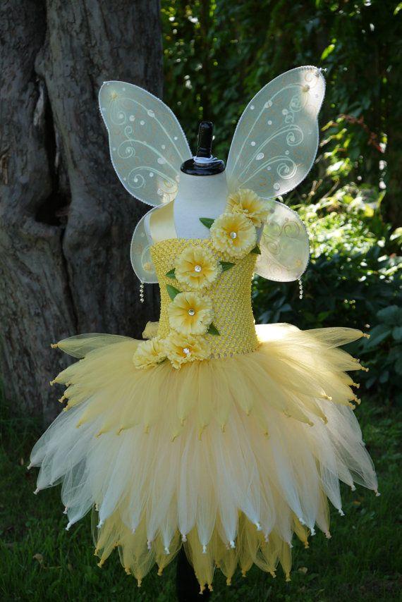 Goud gele Fairy tutu jurk fee kostuum, lichte fee jurk, gele gouden ivoor fee kostuum, fairy verjaardag jurk, fairy festival kostuum