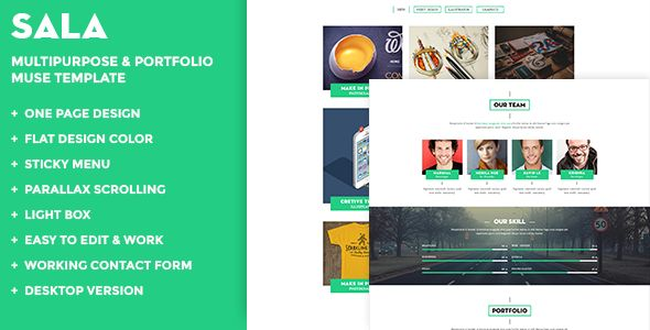 Sala Multipurpose & Portfolio Muse Template is a finely crafted Muse theme, with a clean ultra-modern design for easy customization. Developed and decoded using MUSE CC 2014 the theme adds a real definition in telling your tale with style.