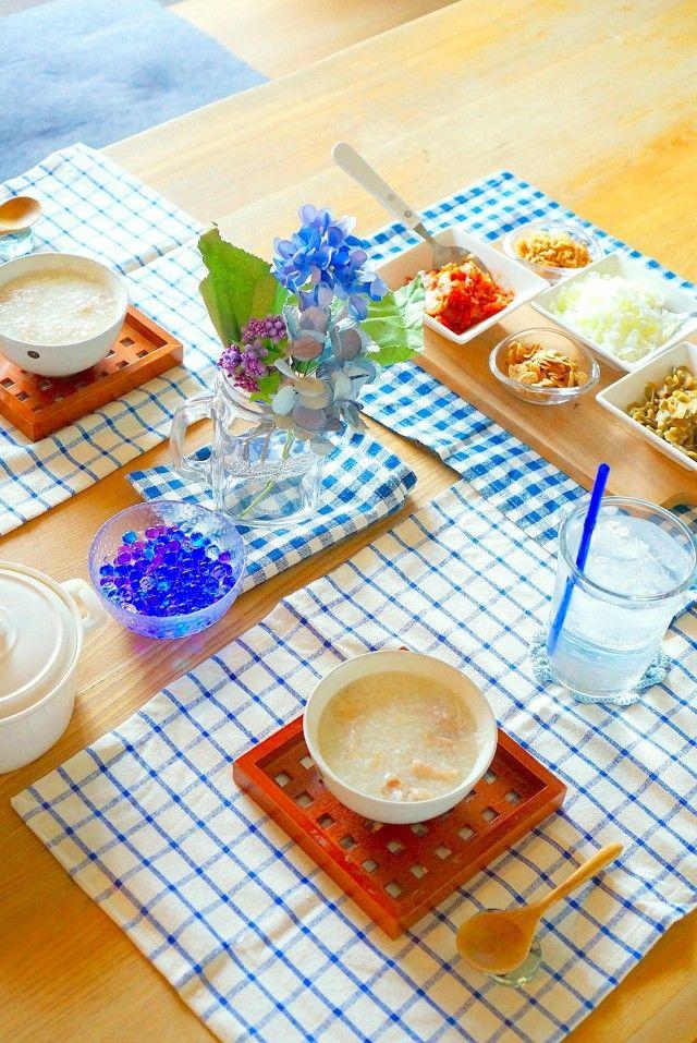 100均グッズ大集合!季節のあじさいテーブルコーデ&中華粥で簡単リッチなおもてなし 暮らしニスタ