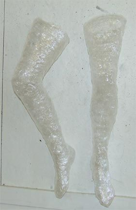 PackingTapeSculpture- Could be great for yard ghosts! or Witches Legs!