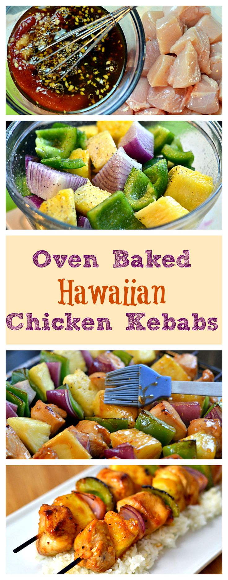 These delicious Oven Baked Hawaiian Chicken Kebabs will bring a taste of the islands home quick, easy, and grill-free!