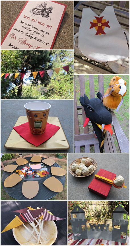 Love these ideas for a Knight Party! How fun for the birthday boy to get to cut the head off the Dragon [cake]!