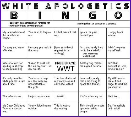 White guilt is major factor in this society and it can cause people to be more careful about what they say.