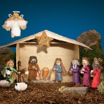 Away in a Manger: Homemade Creche- Pipe cleaners, yarn and glue