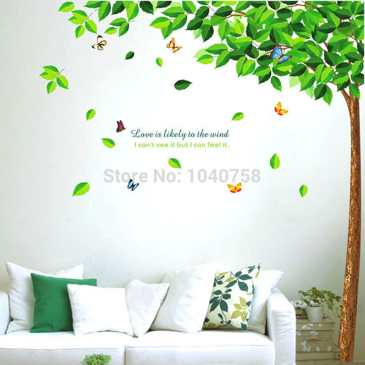 Large Removable PVC Green Tree Wall Stickers for living Room Butterfly Decorative Wall Decal Home Decoration Wall Art #Affiliate