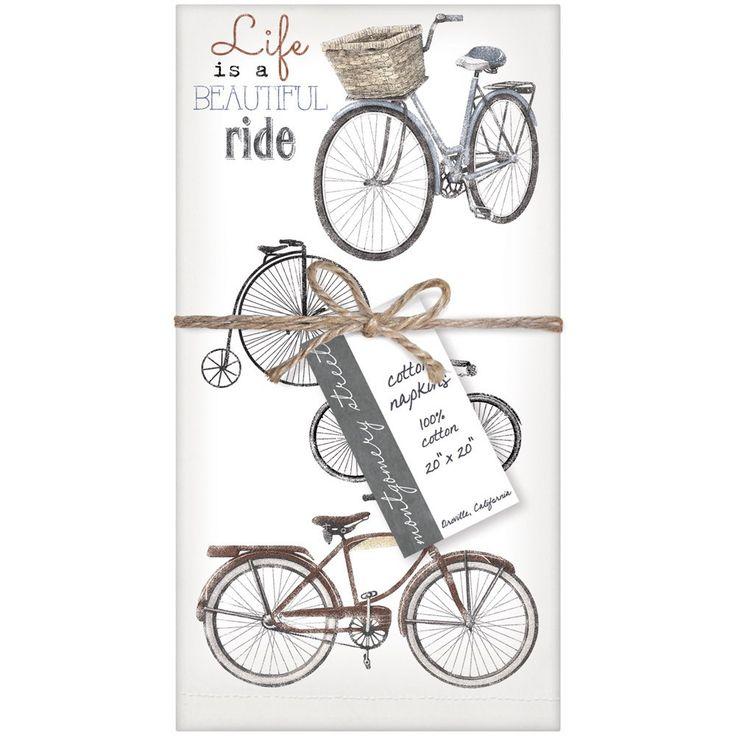 Montgomery Street Beautiful Ride Bike Collage Cotton Napkins, Set of 4