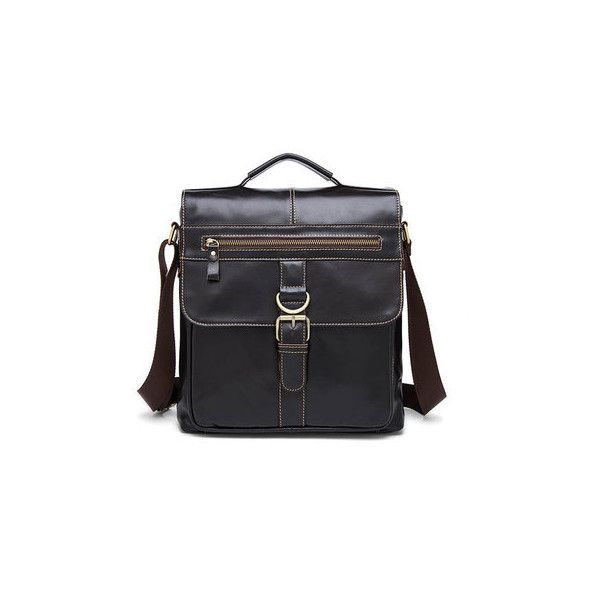 Business Genuine Leather Casual Messenger Crossbody Bag (97 BAM) ❤ liked on Polyvore featuring men's fashion, men's bags, men's messenger bags, dark coffee, mens leather messenger bag and mens messenger bag