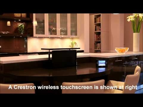 motorized television lift in a luxurious bar