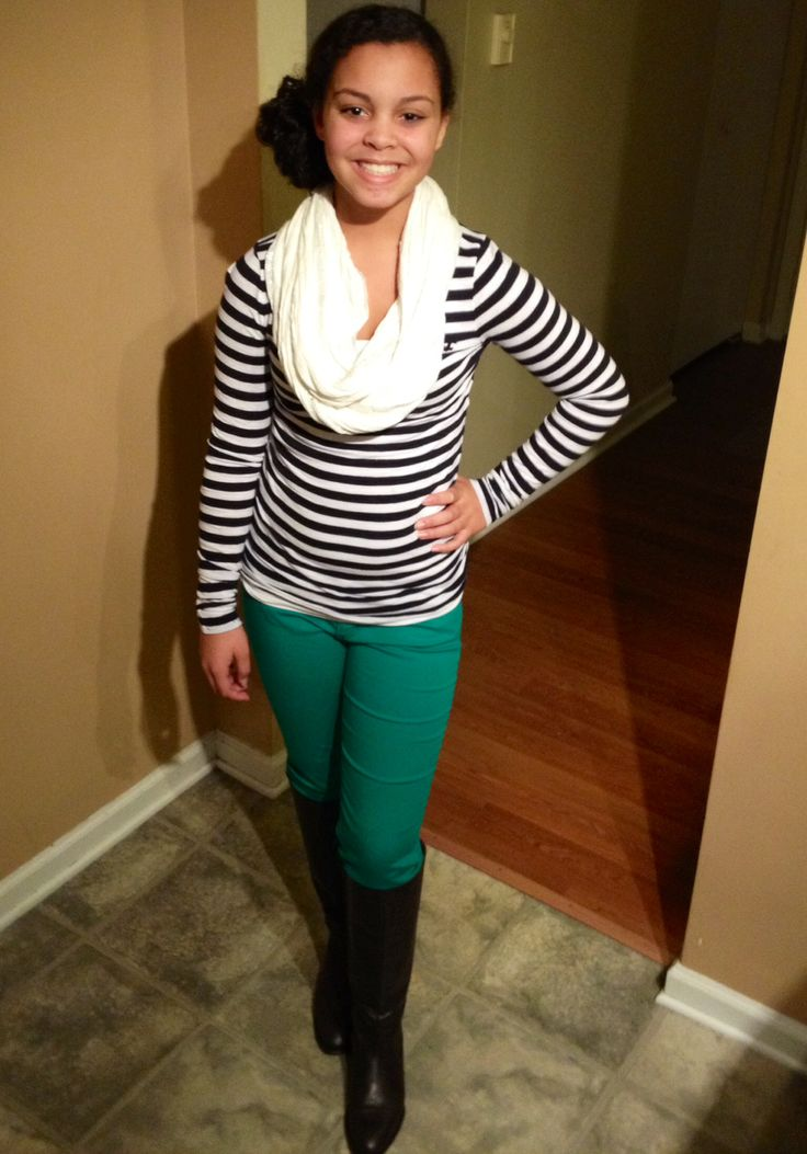 Navy stripes green skinny jeans brown riding boots scarf fall teen fashion tween