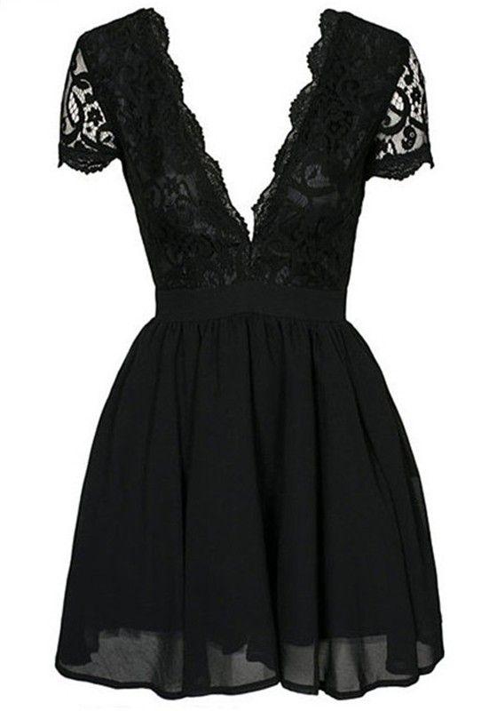 Black Plain Pleated Backless Zipper Lace Deep V-neck Short Sleeve Sexy Party Mini Dress - Mini Dresses - Dresses