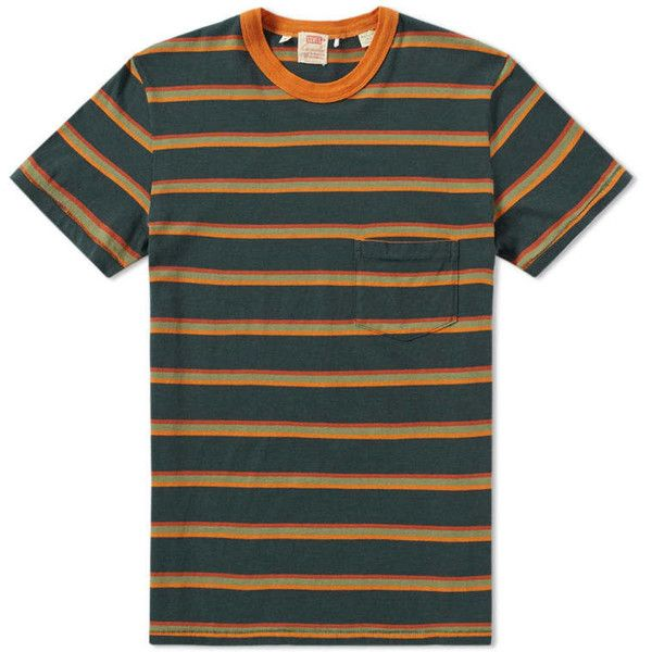 Levi's Vintage Clothing 1960s Casual Stripe Tee ($70) ❤ liked on Polyvore featuring tops, t-shirts, vintage t shirts, levi t shirts, vintage tees, green t shirt and green tee