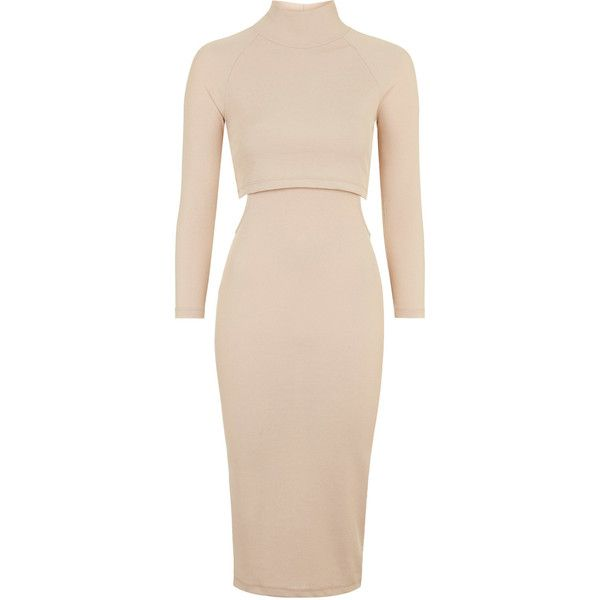 TOPSHOP Roll Neck Cut-Out Bodycon Dress ($20) ❤ liked on Polyvore featuring dresses, vestidos, topshop, nude, side cut out dress, mid calf dresses, ribbed bodycon dress, midi dress and bodycon cocktail dress