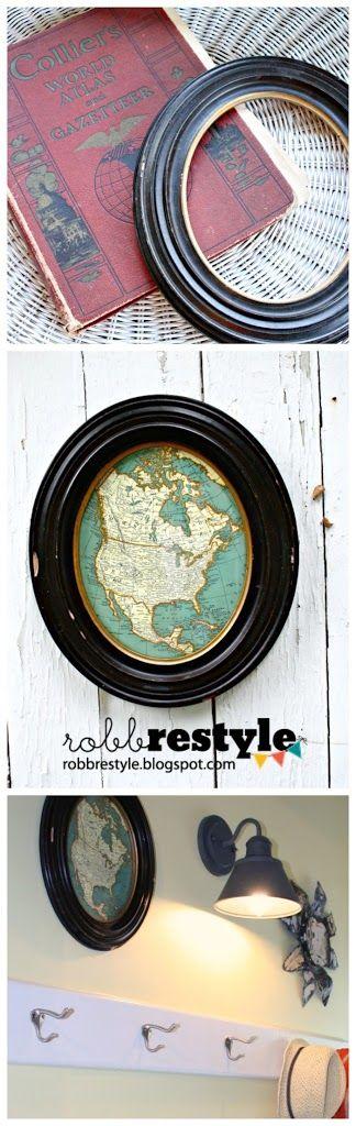 DIY Vintage Repurpose Map Frame Decor by RobbRestyle.com