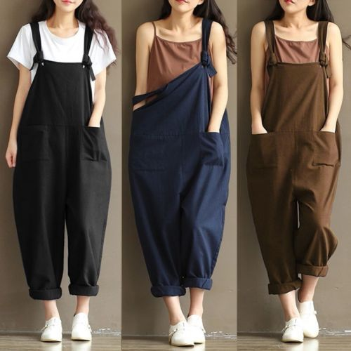 UK 8-24 Women Casual Loose Jumpsuit Strap Dungaree Harem Trousers Overalls Pants…