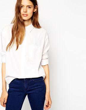 ASOS Slim Boyfriend Shirt With Pleat Detail Back