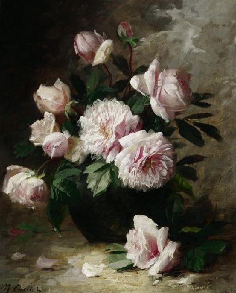 Modeste Carlier. (1820-1878) Still Life Of Roses