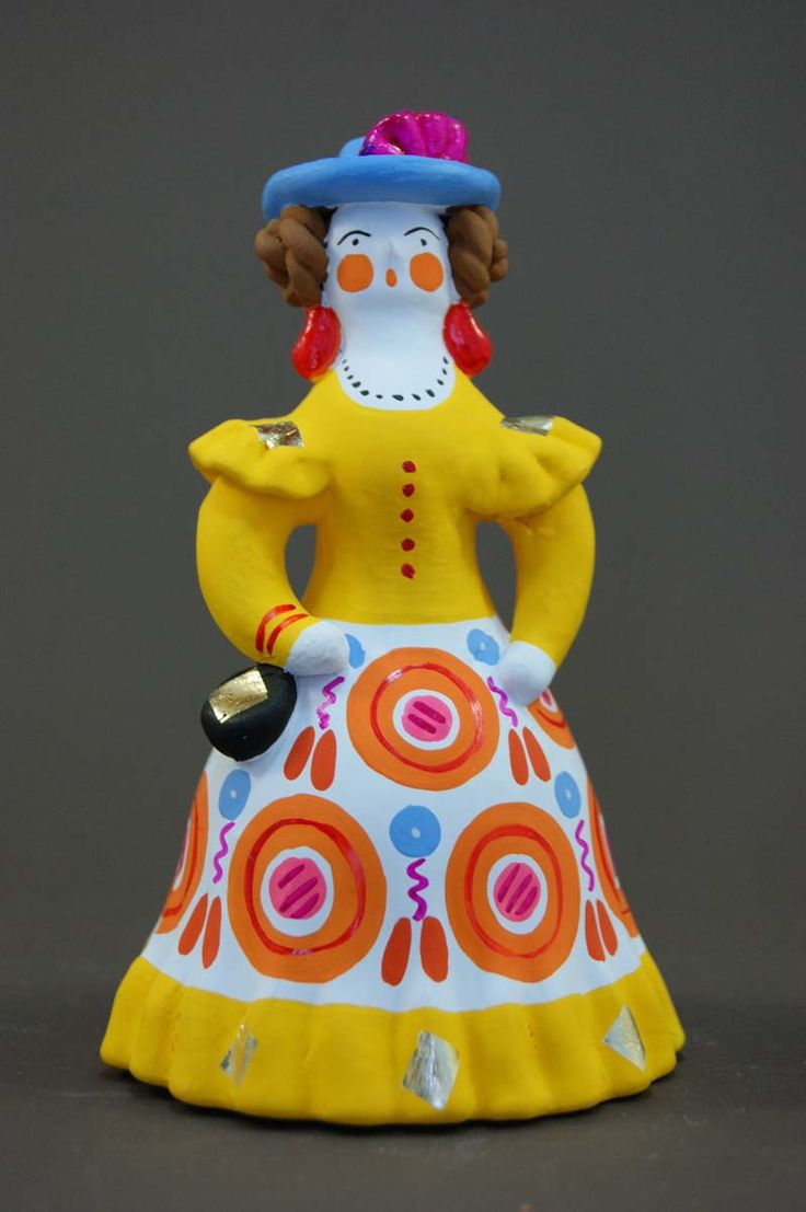 A Lady in a Blue Hat. It's a Dymkovo toy – a hand-painted clay toy from the Russian village of Dymkovo. #folk #art #toys