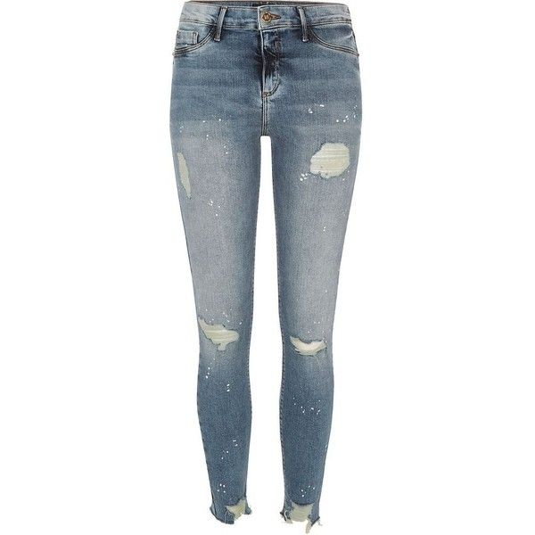 River Island Authentic wash ripped paint Molly jeggings (120 AUD) ❤ liked on Polyvore featuring pants, leggings, jeans, jeggings, women, jean leggings, distressed leggings, jeggings leggings, blue jean leggings and distressed jeggings