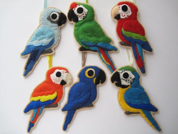 6 Macaws Felt Ornaments by curlyfoxShop on Etsy