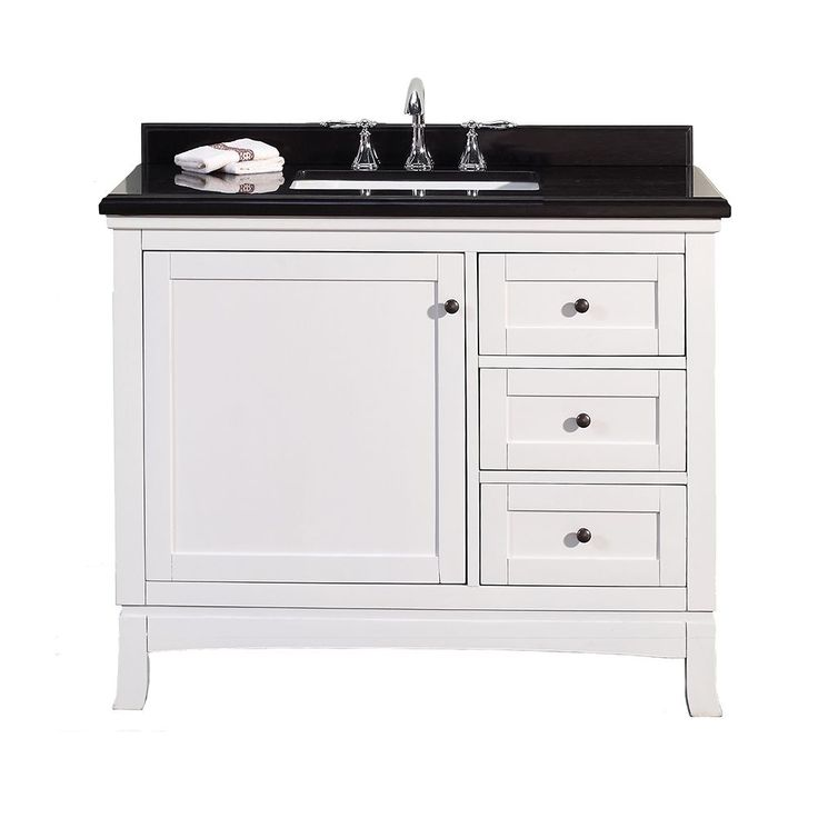 Simple elegance describes the Sophia, a 42 inch vanity your bath space will love! The design is deceivingly simple and understated but classy at the same time. Clean, white lines are set off by the lustrous dark top.