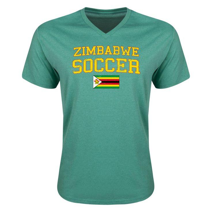 Zimbabwe Soccer V Neck T Shirt Heather Green 2xl V Neck T Shirt T Shirt Soccer