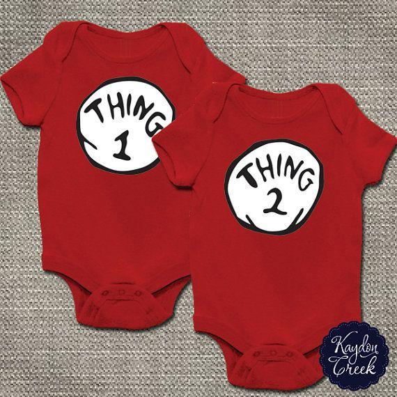 Thing 1 Thing 2 Twin Onesie Set Long Sleeve Tshirts by KaydonCreek, $37.00