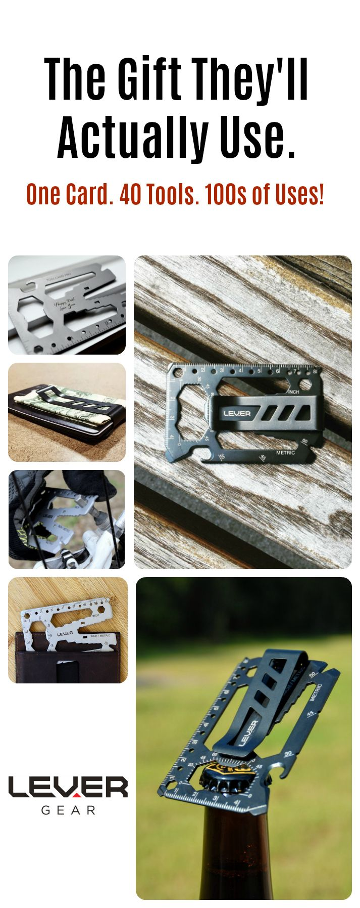The Lever Gear Toolcard Pro. Credit card-sized multitool with 40 tools. Made in America from 420 stainless steel. Detachable money clip. TSA compliant. Lifetime guarantee. Show them you care with a gift that's actually useful! Add your personalized message for milestone birthdays, anniversaries, retirements or just because. #everydaycarry