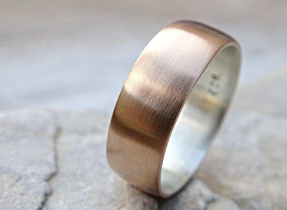 Mens Bronze Wedding Ring Domed Bronze Ring Silver Mens Ring Etsy Rings For Men Bronze Wedding Mens Wedding Rings