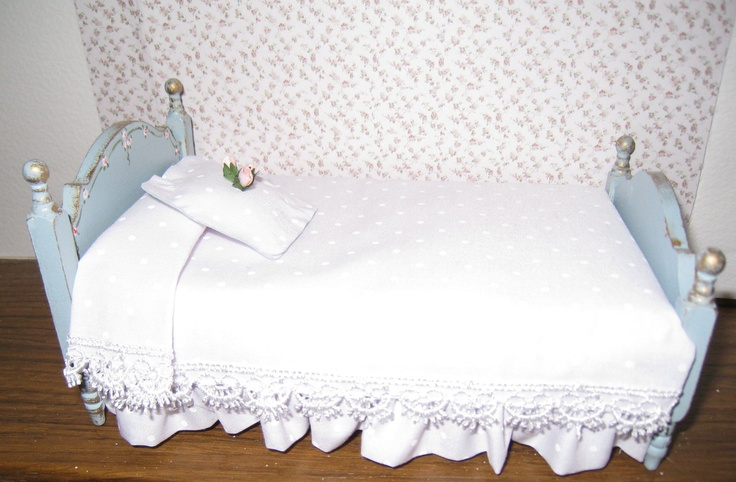 French country shabby chic Single Bed, duck egg blue, white spread, a dollhouse miniature in twelfth scale. $24.00, via Etsy.