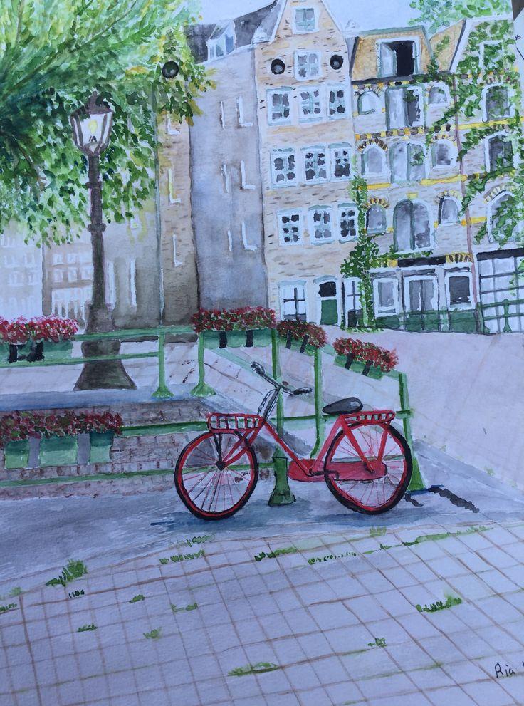 Rode fiets in Amsterdam