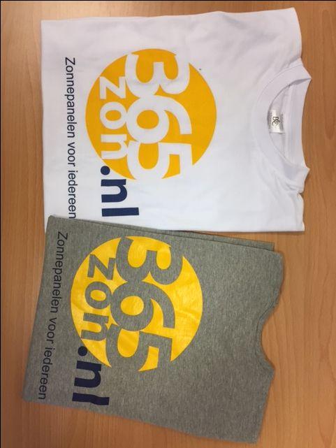365 Zon heeft frisse herkenbare shirts laten maken met bedrukking op de voor of achterzijde. #logo #bedrukking