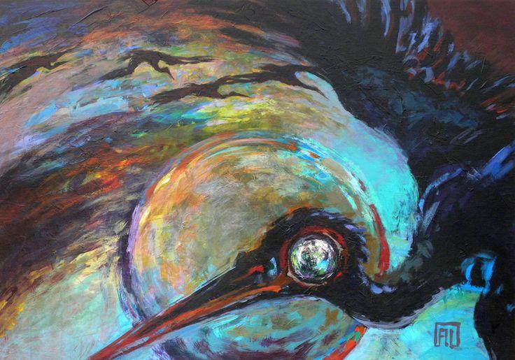 black storks nocturne painting