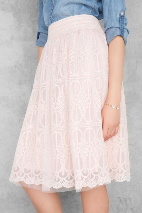 Shaylyn Embroidered Tulle Midi Skirt