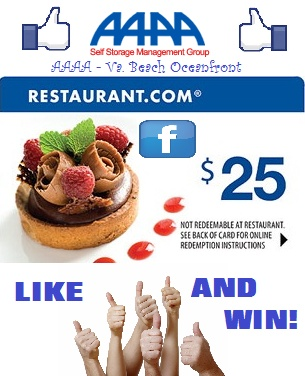 """Like"" our AAAA Self Storage-VB (Va. Beach Oceanfront-AAAA) Facebook Page and enter to win! https://www.facebook.com/AAAAOceanfrontPage/app_156970457689987"