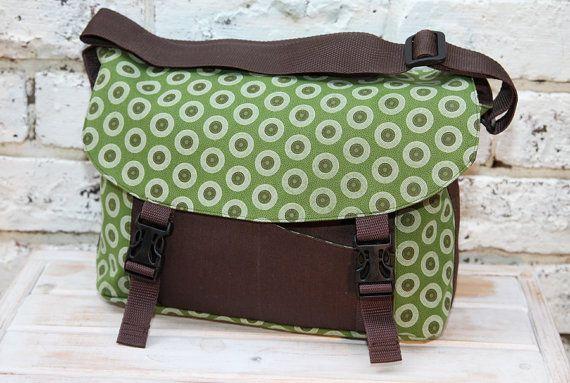 Messenger Bag African Shweshwe fabric  green by ChameleonGirlBags, $85.00