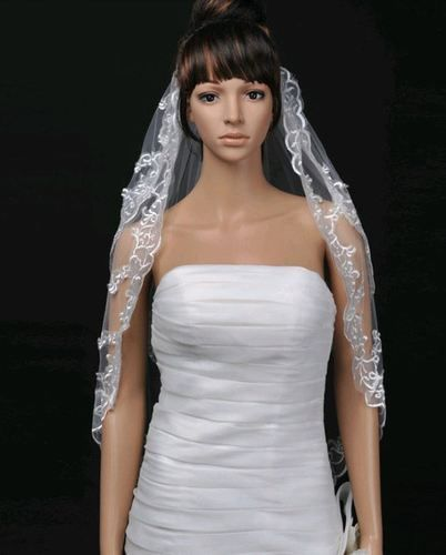"""Beautiful 2 Layer veil applique lace edge 36"""", AU$25.00"""