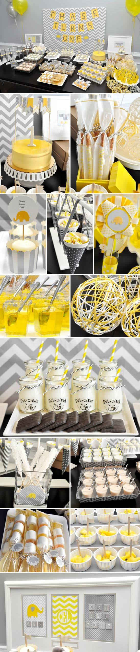 OMG! Yellow & Gray Elephant Themed Dessert Bar for Baby Shower! Love it!