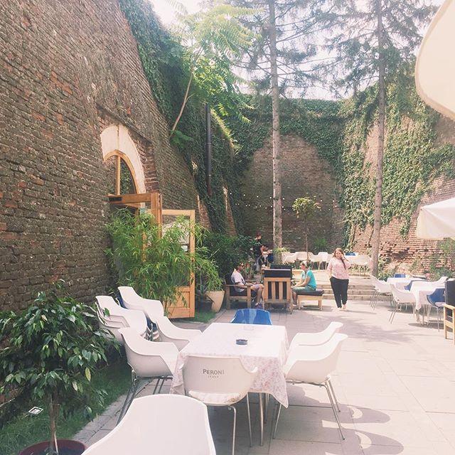 Beautiful garden terrace in Alba citadel, Romania.