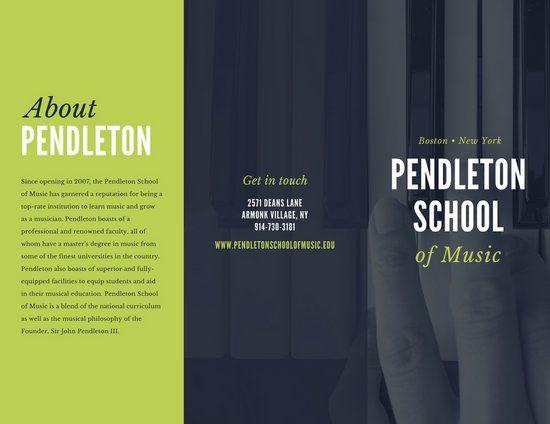 Green Grey Piano Music School Bold Trifold Brochure chorus
