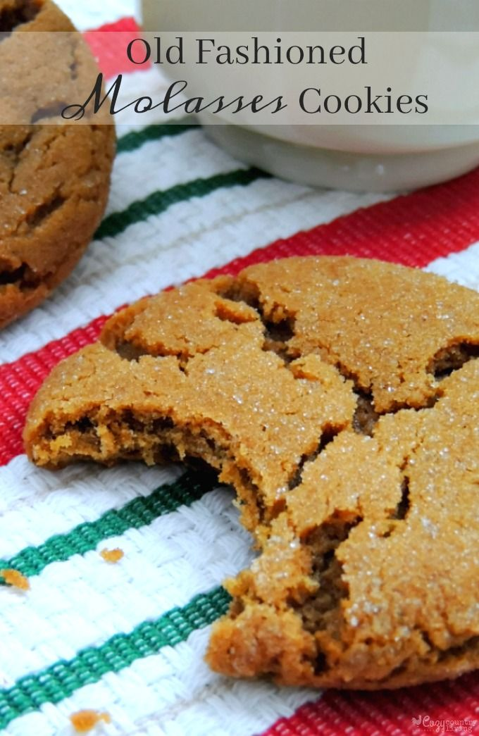 These Old Fashioned Molasses Cookies are perfectly crisp around the edges and chewy in the middle. They're easy to make & delicious with a glass of milk!