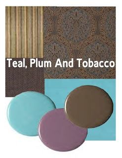 plum walls | family room or library: pale teal walls, a tobacco ceiling, plum ...