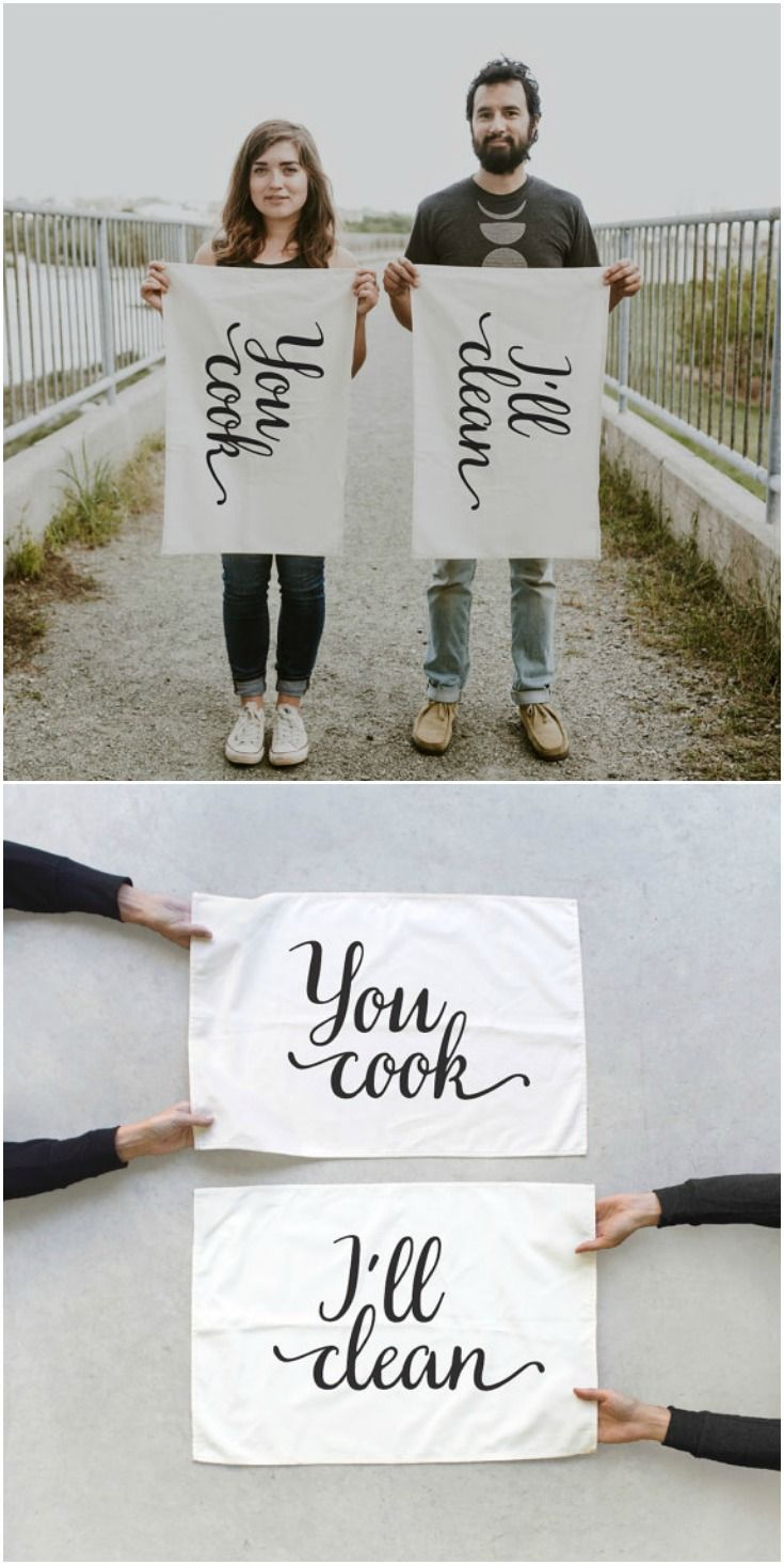 You cook, I'll clean! Absolutely love these tea towels! These dish cloths are awesome for a wedding or Valentine's Day gift. Look great with farmhouse and vintage decor.