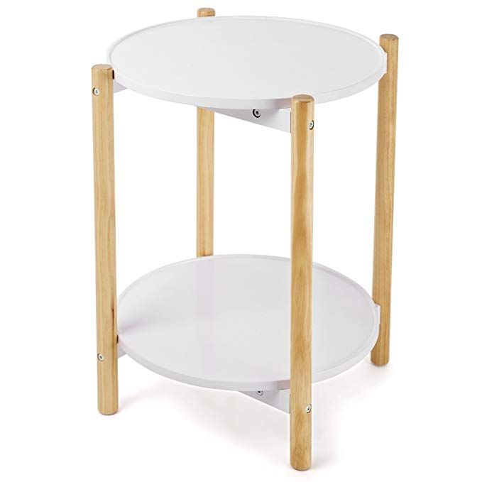 Amazon Com Songmics 2 Tier Side Table Scandinavian End Table With Removable Trays Round Coffe Side Table Round Coffee Table Living Room Table Sets